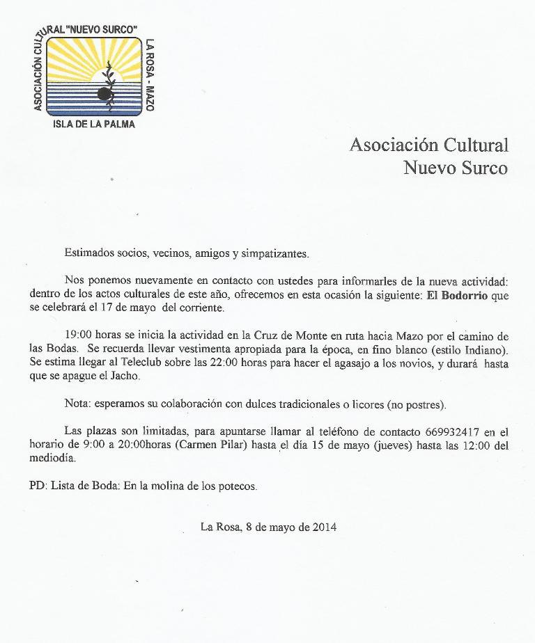 CARTA DE INVITACION A EL BODORRIO 17-5-2014